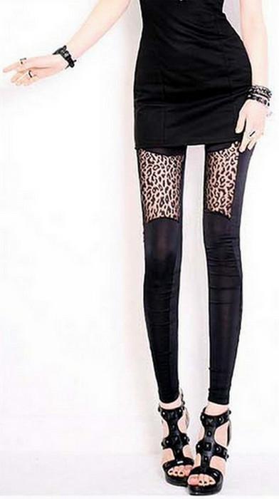 Women Leopard Patch Leggings