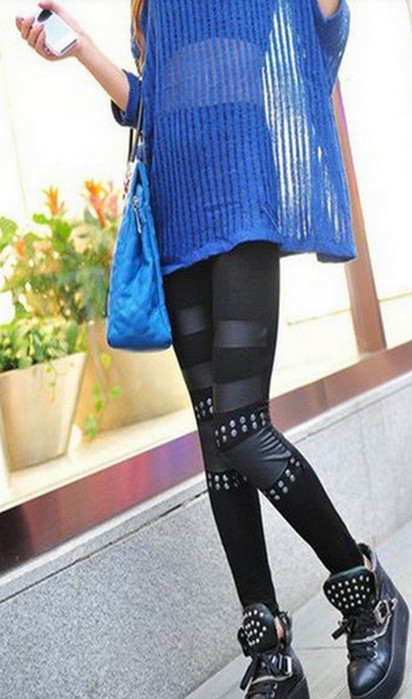 Celebrity Style Black Patchwork Leggings