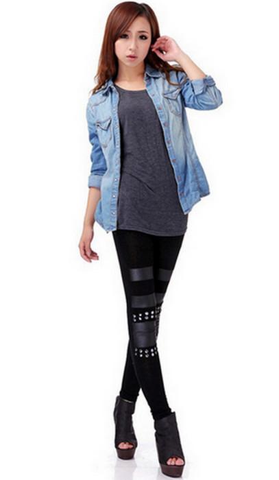 Celebrity Style Black Patchwork Leggings