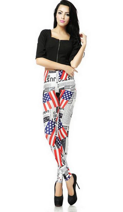 Fashion Women USA Flag Graffiti Leggings