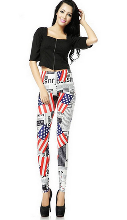 Fashion Women USA Flag Graffiti Leggings