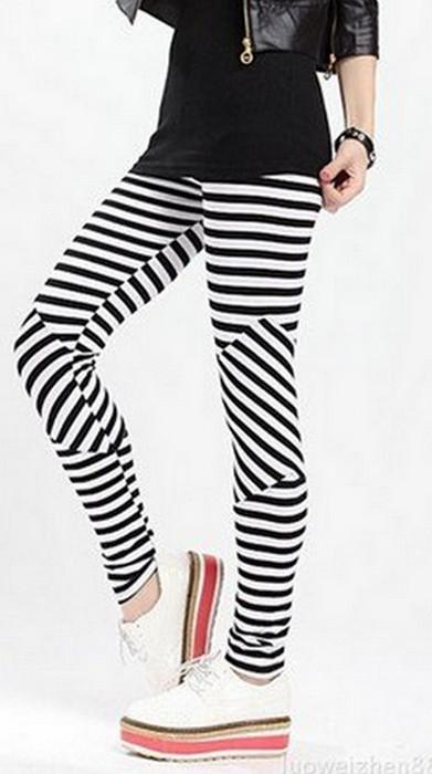 Svart Vit Stripe Leggings