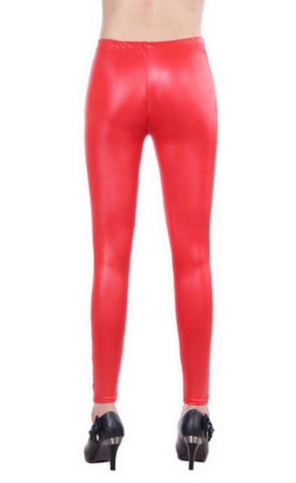 Metallic Red Leather Wrap Leggings
