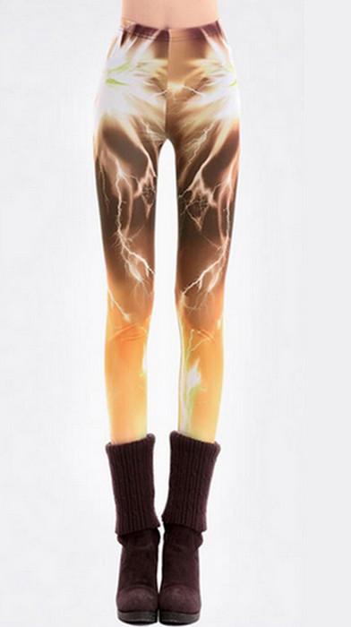 Aurora Yellow Brown Galaxy Leggings
