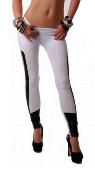 Two Color Faux Leather Leggings