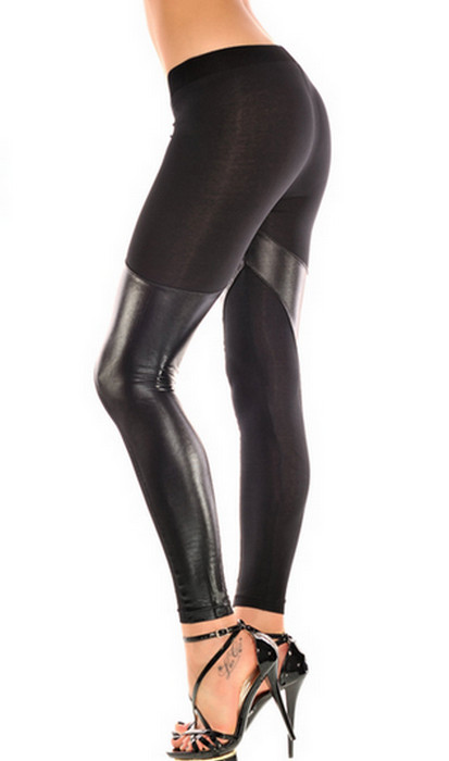 Celebrity Style Cotton Faux Leather Leggin