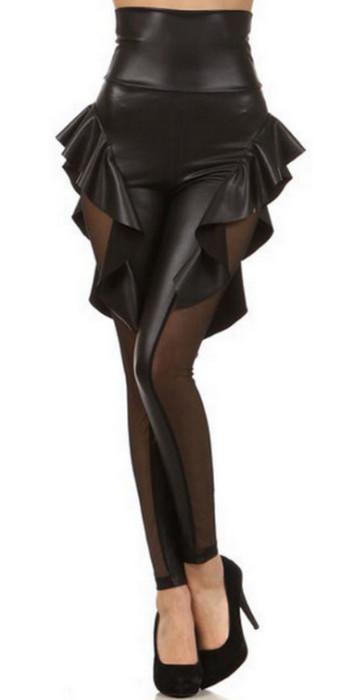 Black Lace Faux Leather Legging