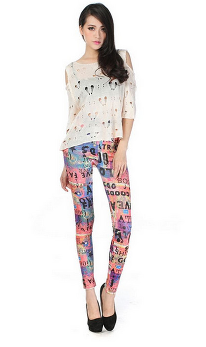 Colorful Tattoo Printing Leggings