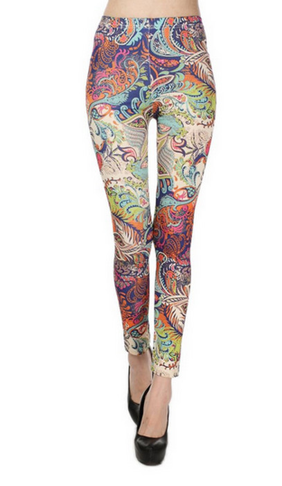 Colored Drawing Pattern Leggings