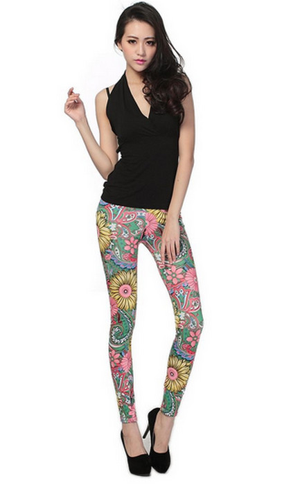 Green Leggings with Flowers
