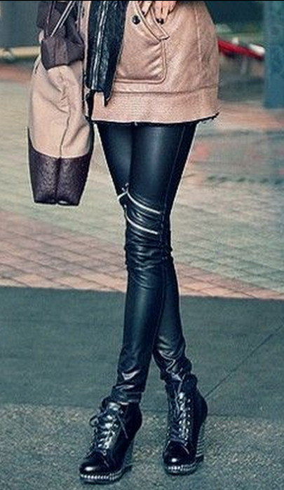 Celebrity Style Zippers Leather Leggings