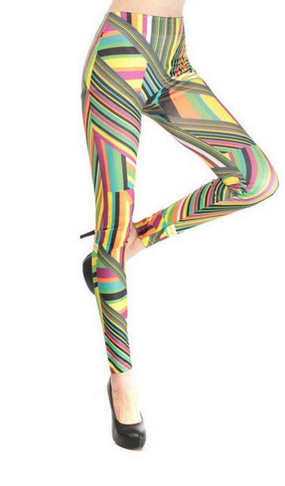 Colorful Irregular Stripe Leggings