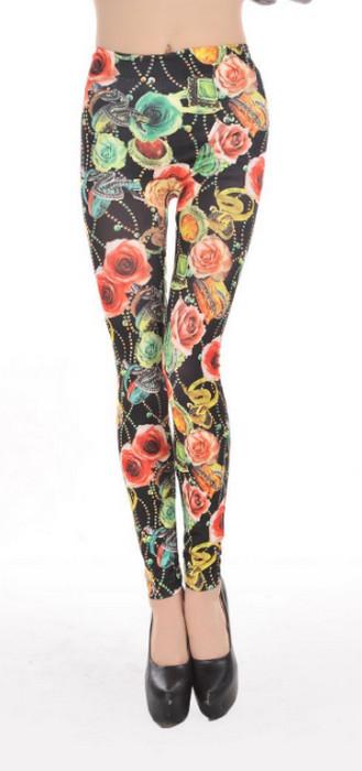 Flowers Pattern Mature Ladies Leggings