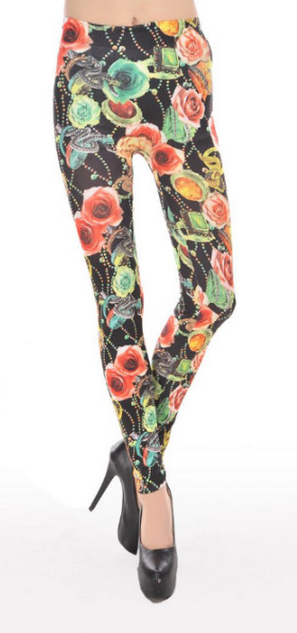 Flowers Pattern Mature Ladies Leggings