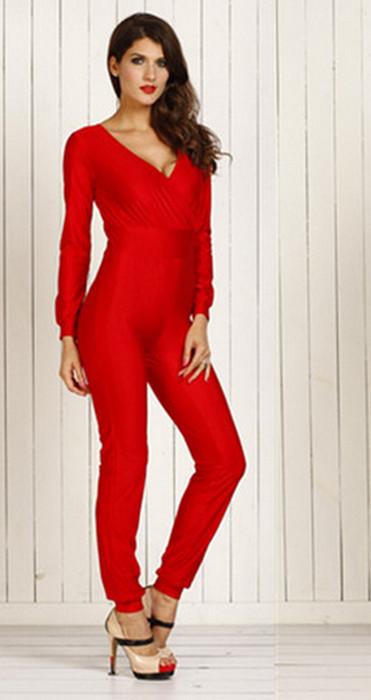 Red Long Sleeve V-Neck Jumpsuit