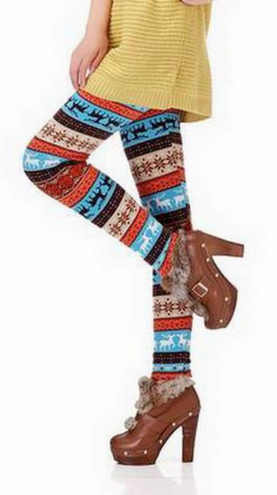 Svart Vit Älg Winter Thick Leggings