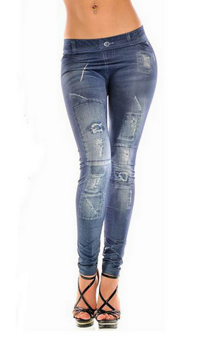 Grå Blå Sönder Design Jeggings Faux Jeans Leggings