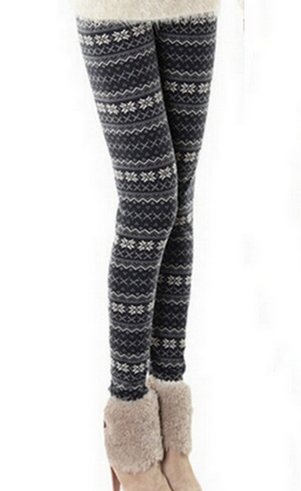 Grå Svart Winter Thick Leggings