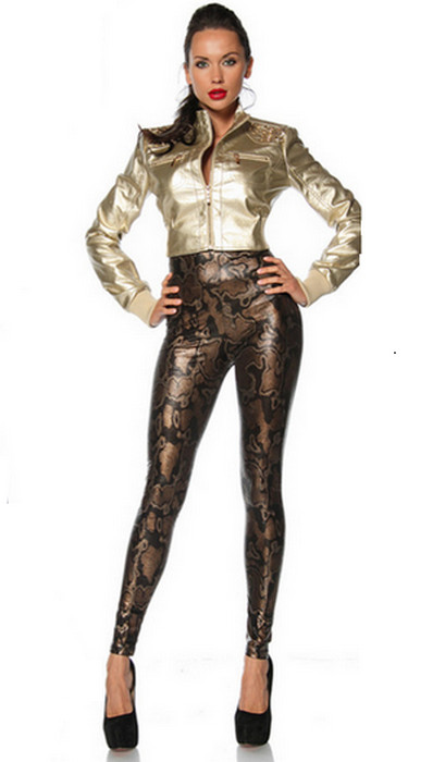 High Waist Black & Gold Leggings