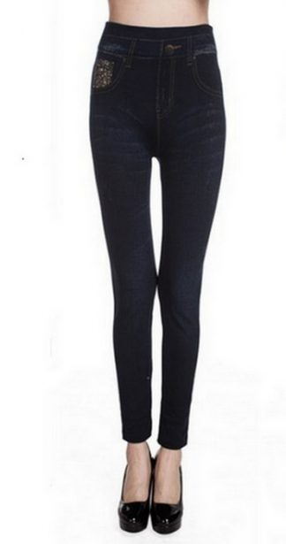 Svart Jeggings Faux Jeans Leggings