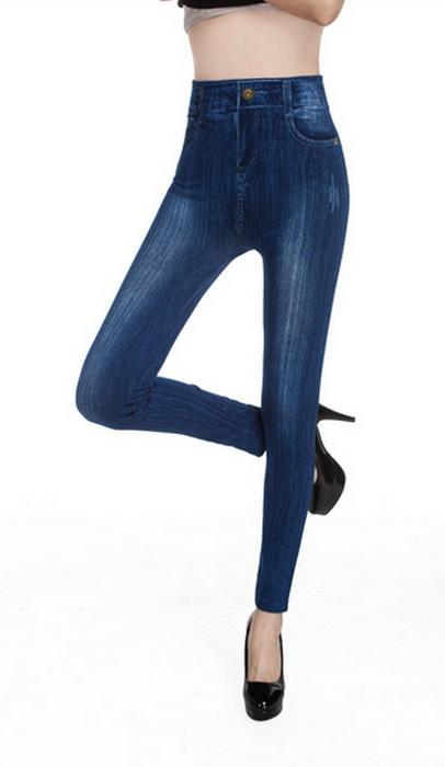Blå Vit Rispa Jeggings Faux Jeans Leggings