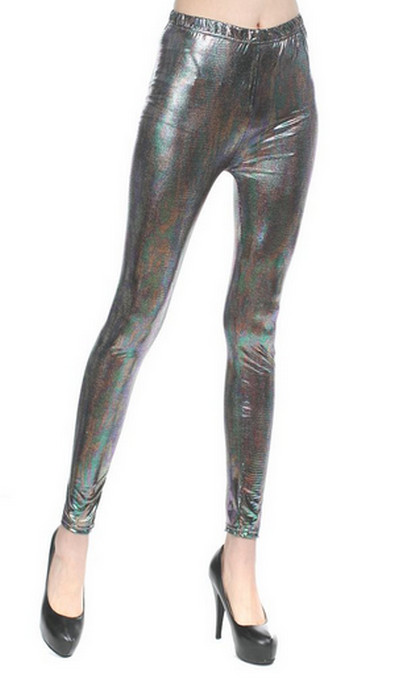Silver Mixed Color Faux Leather Leggings
