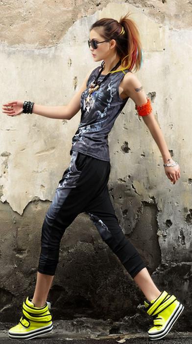 Wolf Punk Rock Hip Hop Haremsbyxor
