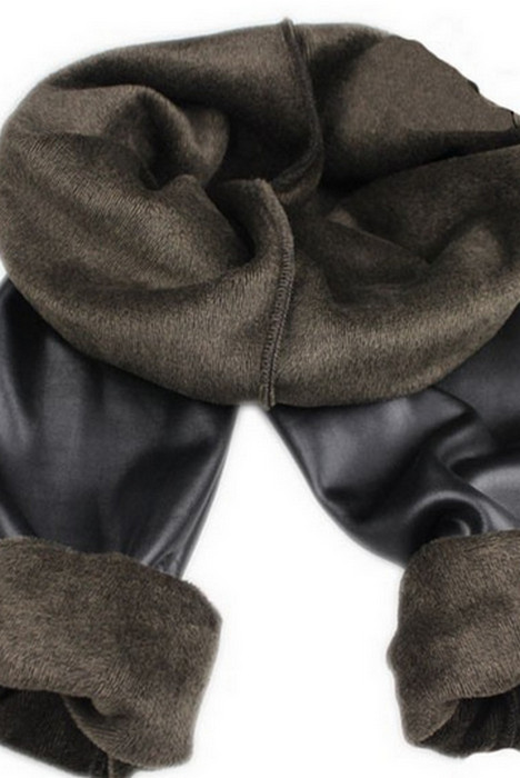 Brun Winter Thick Faux Imitation Leather Leggings