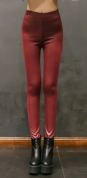 Burgundy Winter Thick Faux Imitation Leather Leggings