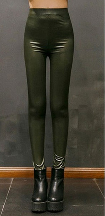 Green Winter Thick Faux Leather Leggings