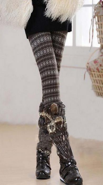 Stars Thick Bamboo Fiber Winter Leggings
