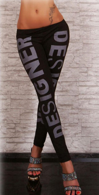 Black Design Printed Leggings