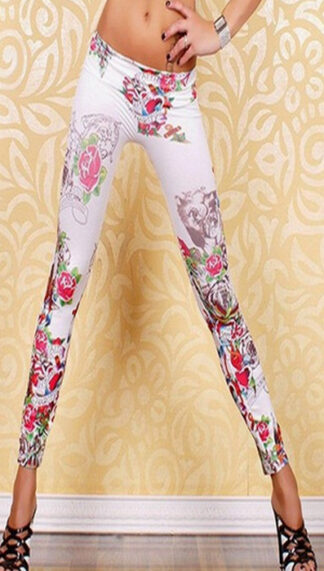 Vintage White Graffiti Leggings