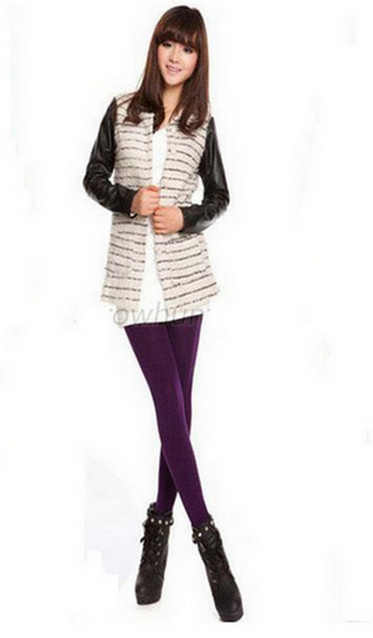 Lila Solid Velvet Winter Thick Leggings