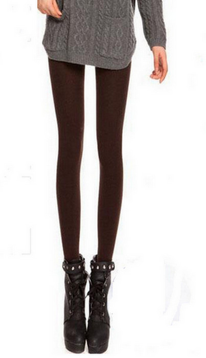 Mörkbrun Solid Velvet Winter Thick Leggings