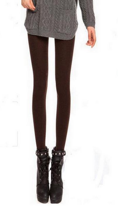 Mörkbrun Solid Velvet Winter Thick Leggings